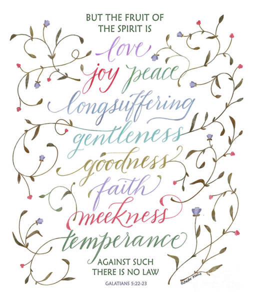 Ask Teal Mixed Media - Scripture Art Of Galatians 5-22-23 Kjv - The Fruit Of The Spirit - Muted by KJV Calligraphy