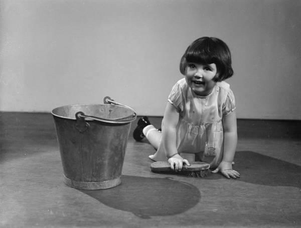 2 Photograph - Scrubbing The Floor by Fox Photos