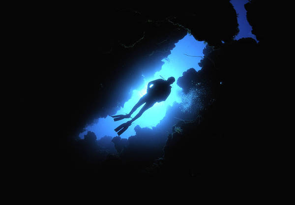 Underwater Diving Photograph - Scuba Diver Descends Through Chimney In by Stephen Frink
