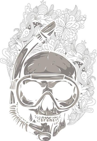 Digital Art - Scuba Diver Skull by Passion Loft