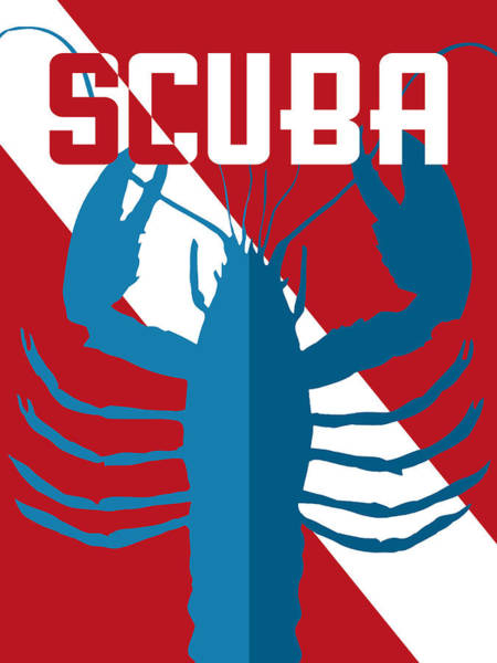 Scuba Diving Wall Art - Digital Art - Scuba Lobster by Flo Karp