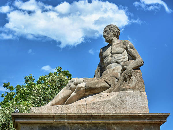 Photograph - Sculpture Of Gentleman On The Montjuic Hill In Spain by Fine Art Photography Prints By Eduardo Accorinti