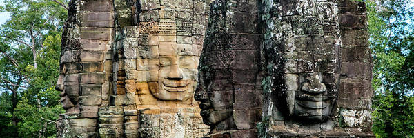 Wall Art - Photograph - Sculptures At Bayon Temple, Angkor by Panoramic Images