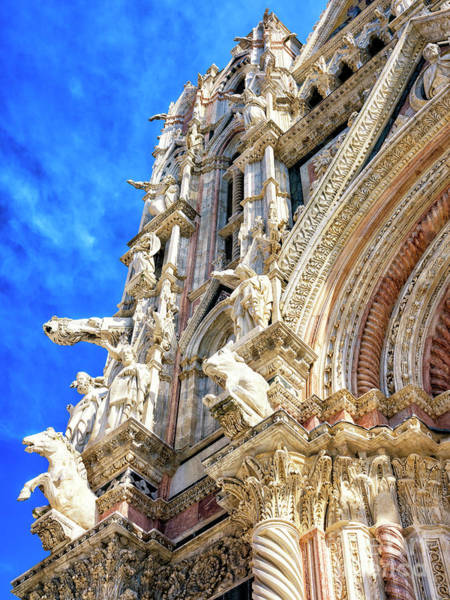 Photograph - Sculptures At The Duomo Di Siena Facade by John Rizzuto