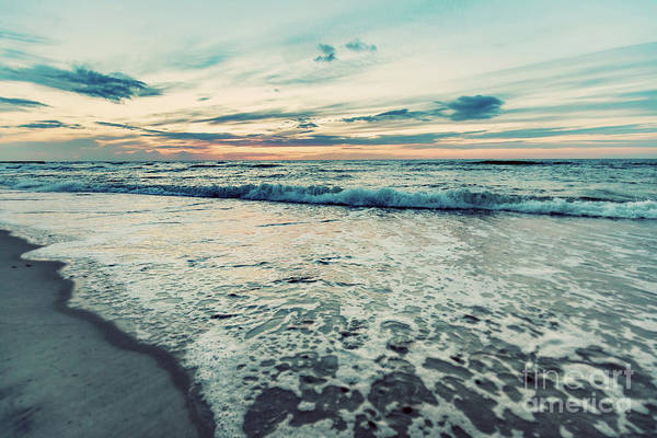 Wall Art - Photograph - Sea At Sunset. Sun Reflection In Waves. Vintage Tone by Michal Bednarek