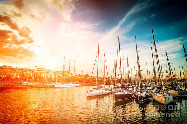 Wall Art - Photograph - Sea Bay With Yachts At Sunset by In Green