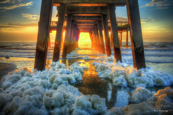 Photograph - Sea Foam 2 Tybee Island Pier Sunrise Art by Reid Callaway