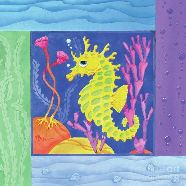 Sealife Painting - Sea Friends - Seahorse by Paul Brent