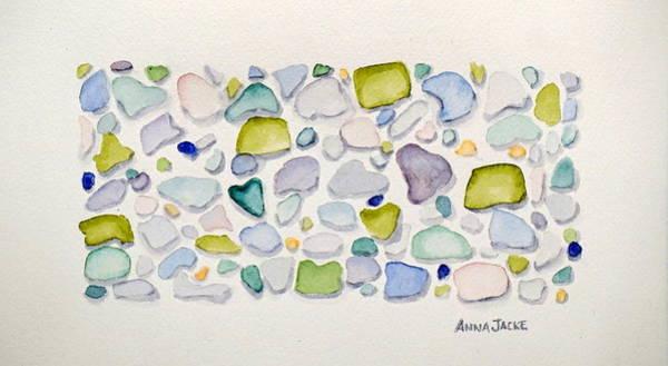 Painting - Sea Glass Hearts by Anna Jacke