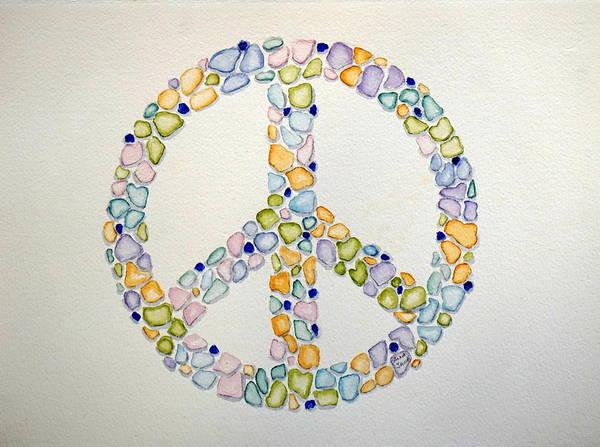 Painting - Sea Glass Peace Symbol by Anna Jacke
