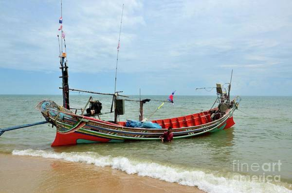 Photograph - Sea Going Fishing Vessel Boat Parked On Beach In Pattani Village Thailand by Imran Ahmed