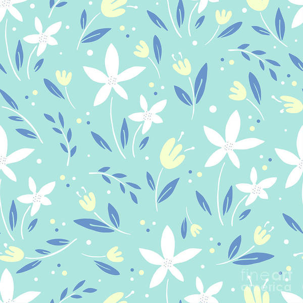 Photograph - Sea Kiss Floral Blue Summer Flowers Pattern by Sharon Mau