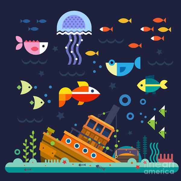 Bubble Digital Art - Sea Life. Underwater World. Fish by Beresnev