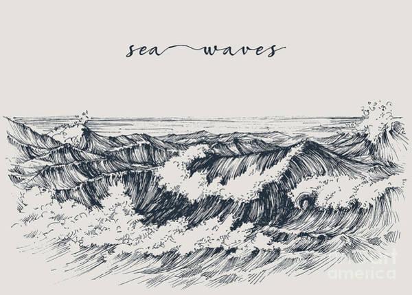 Tidal Wall Art - Digital Art - Sea Or Ocean Waves Drawing. Sea View by Danussa