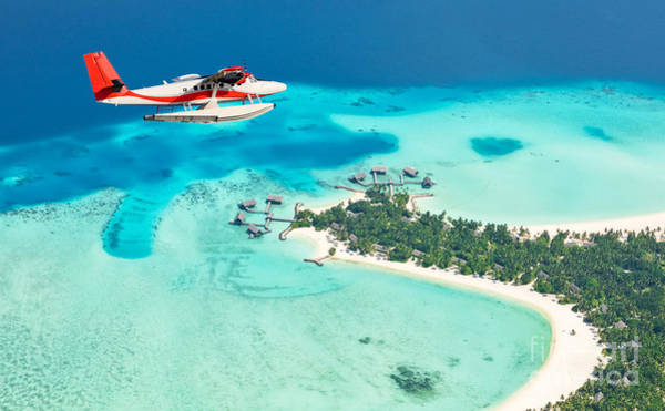 Wall Art - Photograph - Sea Plane Flying Above Maldives Islands by Jag cz