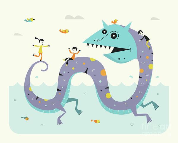 Serpent Digital Art - Sea Serpent by Jazzberry Blue