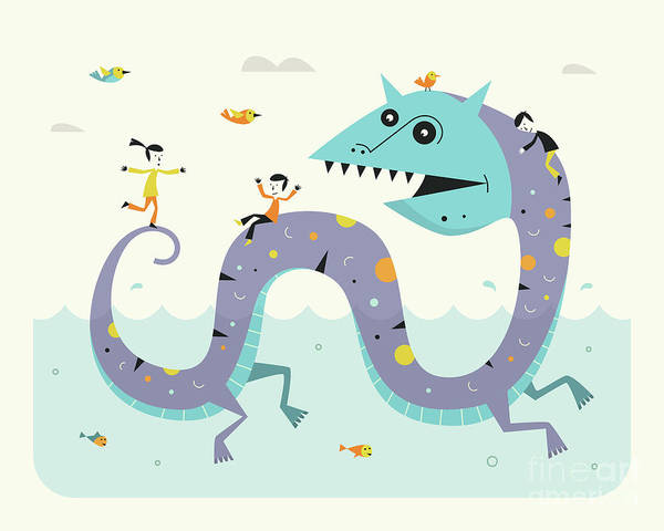 Monsters Digital Art - Sea Serpent by Jazzberry Blue