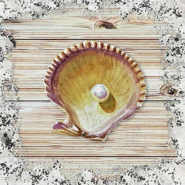 Gift Shops Painting - Sea Shell Beach House Rustic Chic Decor IIi by Irina Sztukowski