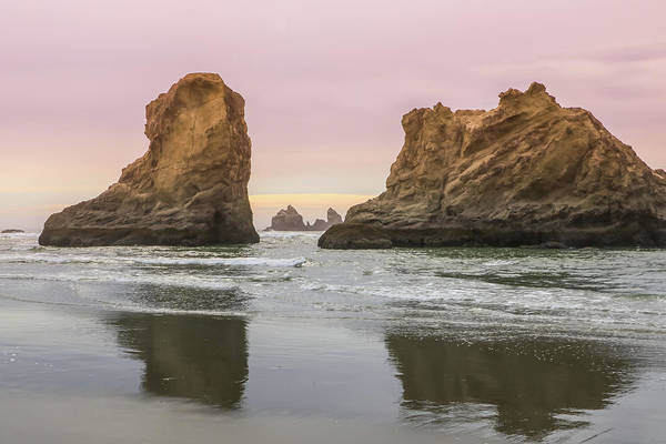 Photograph - Sea Stack And Spires Sunset 1, Bandon Beach, Oregon by Dawn Richards