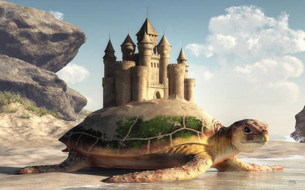 Digital Art - Sea Turtle, Sand Castle by Daniel Eskridge