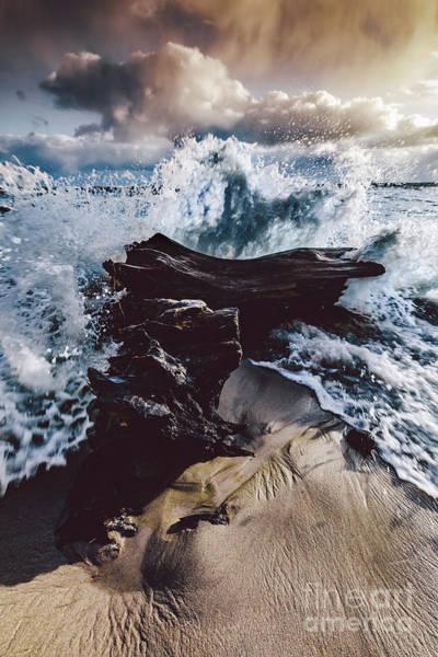 Wall Art - Photograph - Sea Wave Hitting Wood On A Seashore by Michal Bednarek