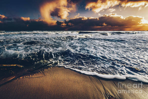 Wall Art - Photograph - Sea Waves On A Sandy Shore At Sunset. by Michal Bednarek