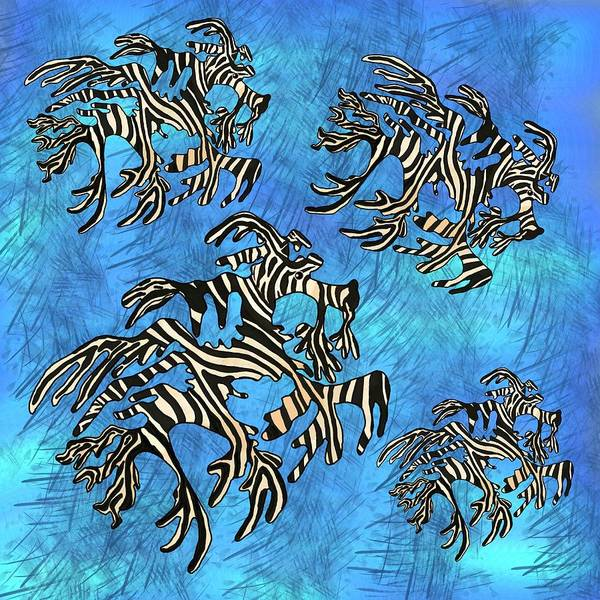 Wall Art - Drawing - Sea Zebra Dragons Blue by Joan Stratton
