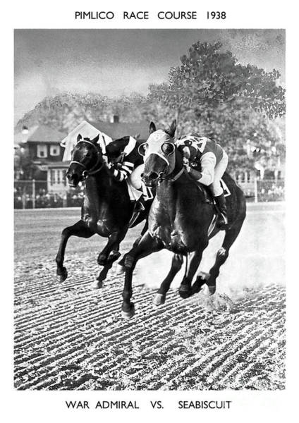Racing Mixed Media -  Seabiscuit Vs War Admiral, Match Of The Century, Pimlico, 1938 by Thomas Pollart