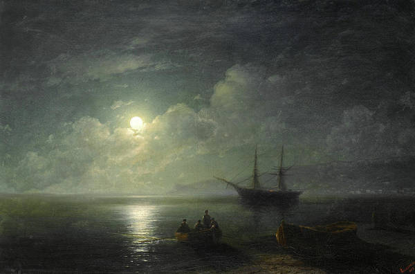 Wall Art - Painting - Seacape With Full Moon, 1857 by Ivan Konstantinovich Aivazovsky