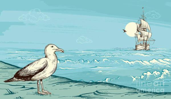 Wall Art - Digital Art - Seagull At Seaside by Peter Awax