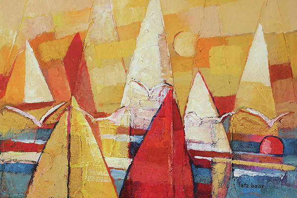 Wall Art - Painting - Seagulls And Sails by Lutz Baar