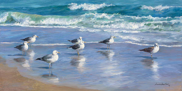 Wall Art - Painting - Seagulls Conference by Laurie Snow Hein