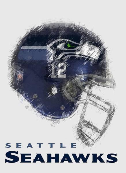 Wall Art - Digital Art - Seahawks 12th Man - T-shirt by Daniel Hagerman