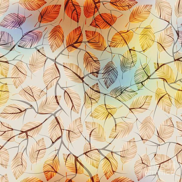 Seamless Wall Art - Digital Art - Seamless Background Pattern.  Autumn by Tatiana Kasyanova