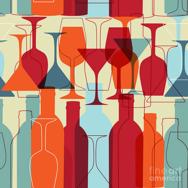 Wall Art - Digital Art - Seamless Background With Wine Bottles by Mcherevan