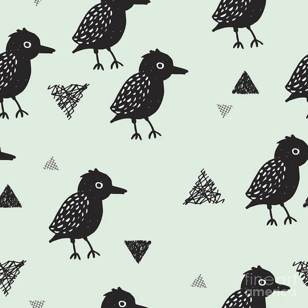 Seamless Blackbird Crow Illustration Art Print