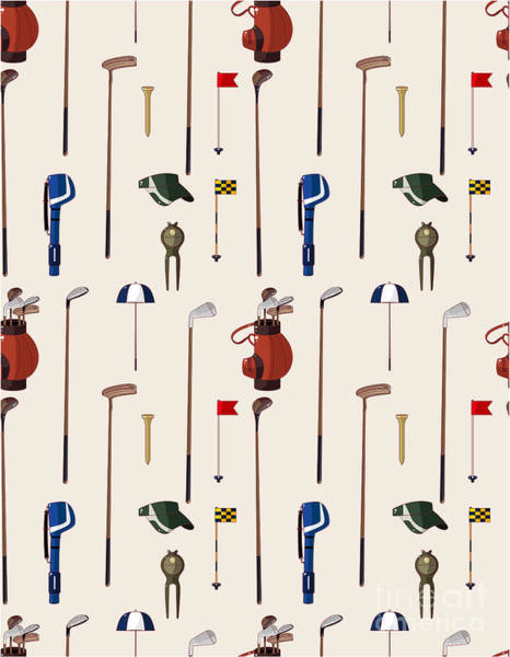 Wall Art - Digital Art - Seamless Cartoon Golf Game Pattern by Notkoo