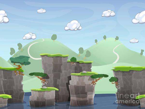 Effect Wall Art - Digital Art - Seamless Cartoon Nature Landscape by Deymos