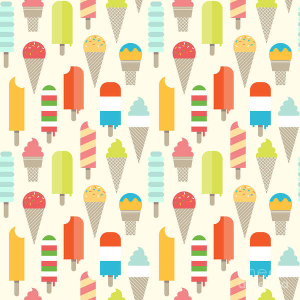 Delicious Wall Art - Digital Art - Seamless Colorful Ice Cream Pattern by Shirstok