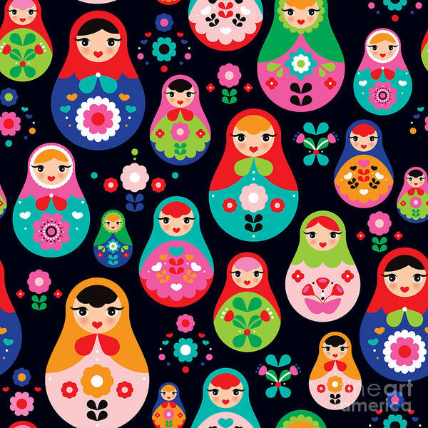 Interior Decoration Wall Art - Digital Art - Seamless Colorful Retro Russian Doll by Maaike Boot