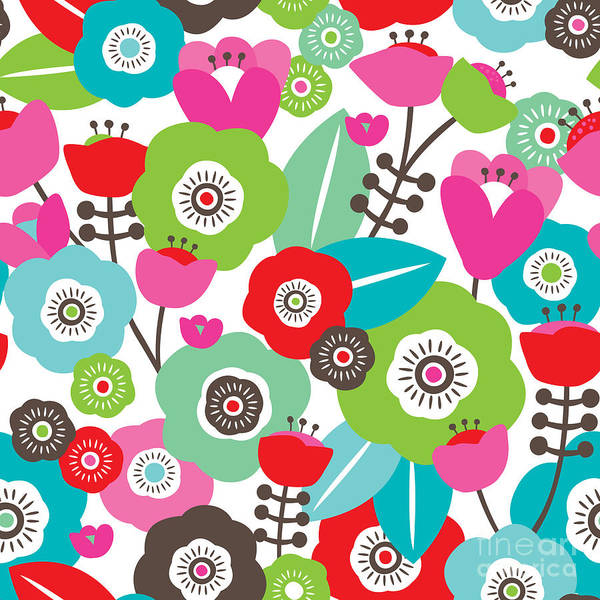 Interior Decoration Wall Art - Digital Art - Seamless Colorful Spring Flowers by Maaike Boot