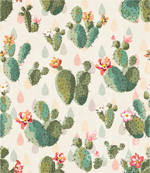 Hawaiian Wall Art - Digital Art - Seamless Cute Cactus Print Pattern by Lufei