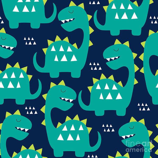 Cheerful Wall Art - Digital Art - Seamless Dinosaur Pattern Vector by Larienn