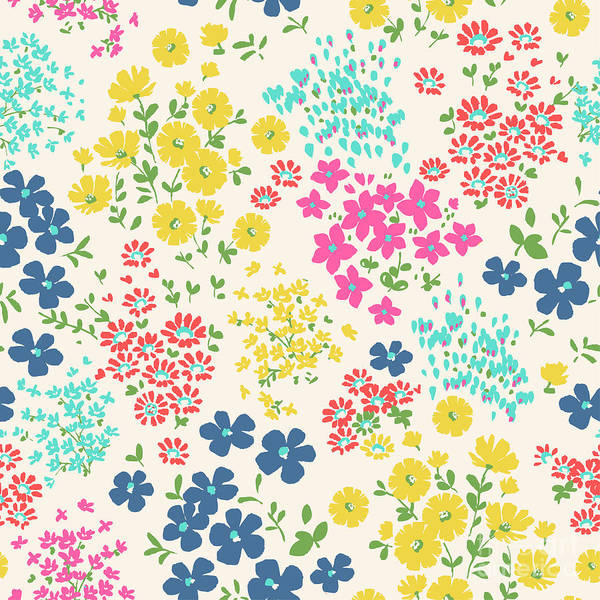 Small Wall Art - Digital Art - Seamless Ditsy Floral Pattern In Vector by Indipixi