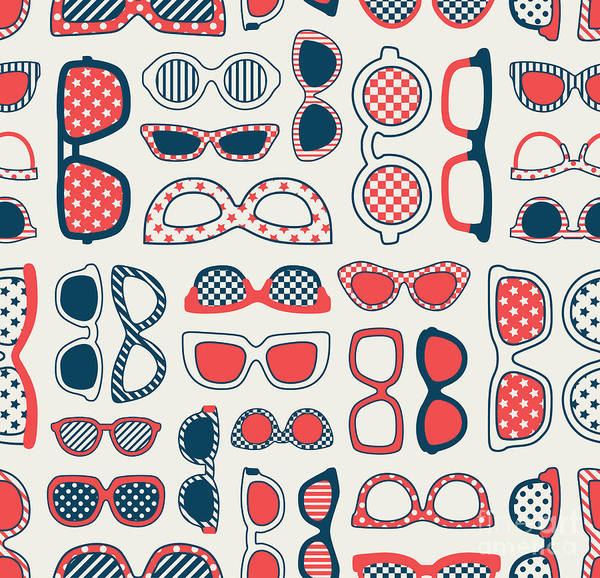 Wall Art - Digital Art - Seamless Fashion Eyeglasses Background by Kidstudio852