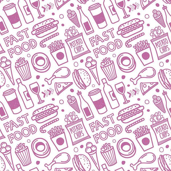 Ice Cream Cones Digital Art - Seamless Fast Food Pattern by Ilyast