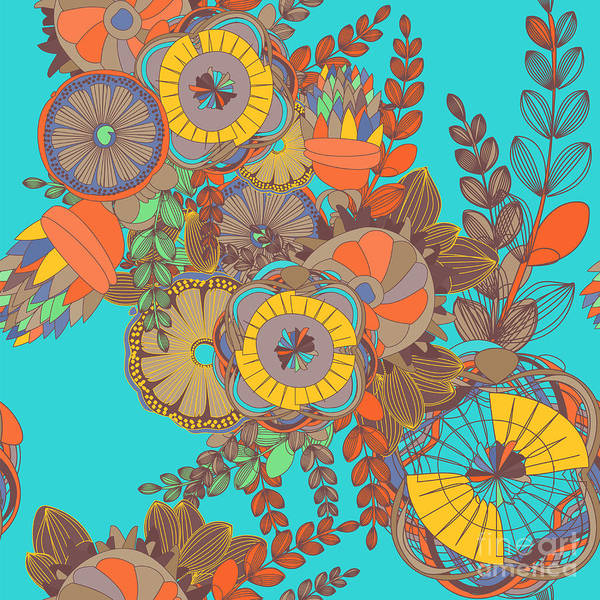 Wall Art - Digital Art - Seamless Floral Doodle Pattern With by Nicemosaic