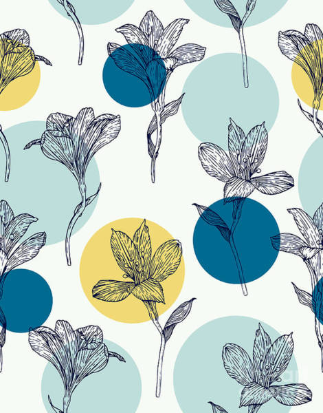 Isolated Wall Art - Digital Art - Seamless Floral Pattern. Pattern With by Ekzi.ekzi