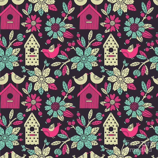 Cover Wall Art - Digital Art - Seamless Floral Pattern With  Birdhouses by Tets