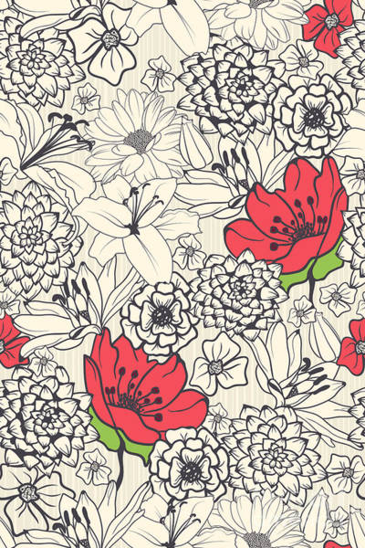 Funky Digital Art - Seamless Floral Pattern With Red by Demih